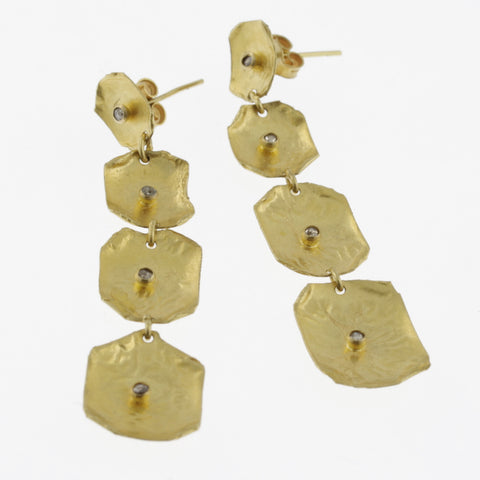 Yellow gold black diamond 4 drop earrings