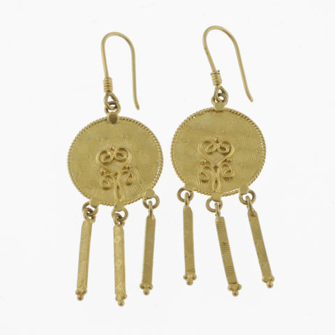 Yellow gold disc earrings with three drops