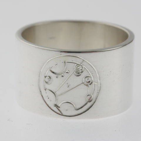 Sterling silver ring with astrological chart engraving