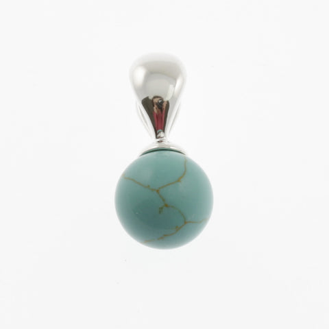 Ball pendant in stone and silver- blue