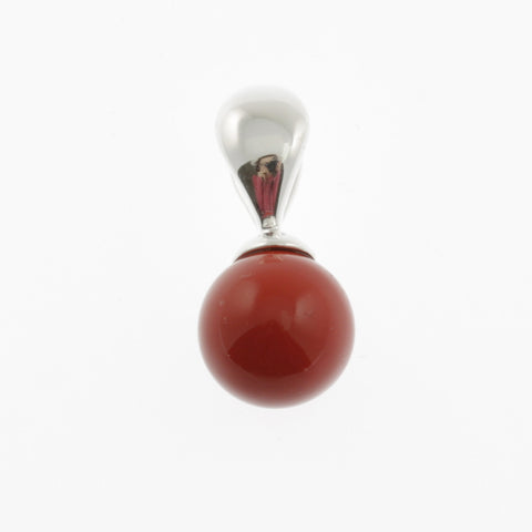 Ball pendant in stone and silver- coral