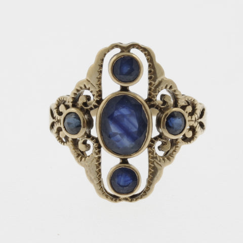 Four sapphire yellow gold detailed ring
