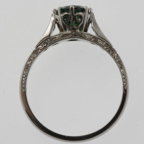 Emerald and diamond vintage style engagement ring