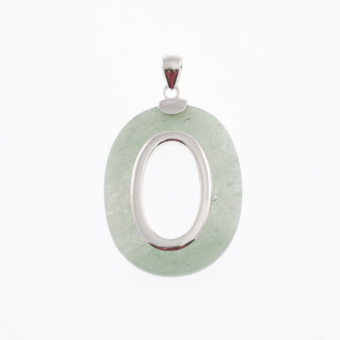 Oval pendant in stone and silver- green