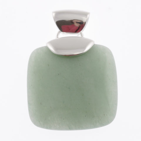 Rounded square pendant in stone and silver- green