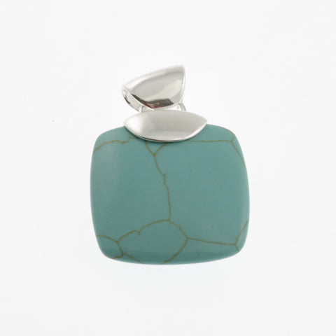 Rounded square pendant in stone and silver- blue