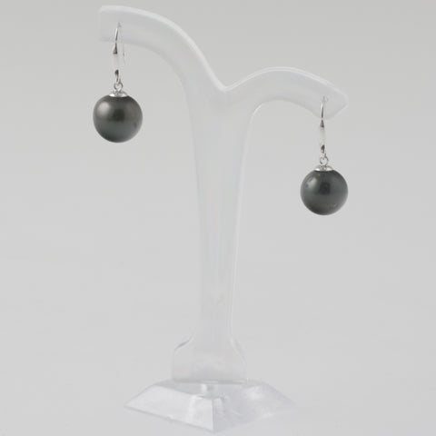 Tahitian pearl earrings in white gold 11.85mm