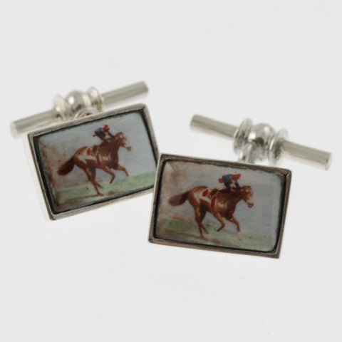 Vintage style sterling silver cufflinks with a racing horse and jockey in blue and red