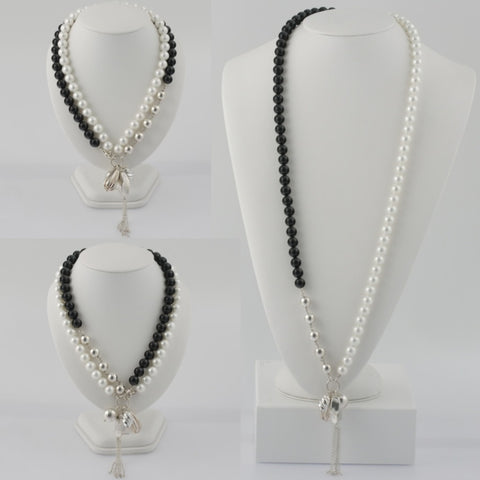 Wear it 3 ways black and white shell necklace with sterling silver pendants