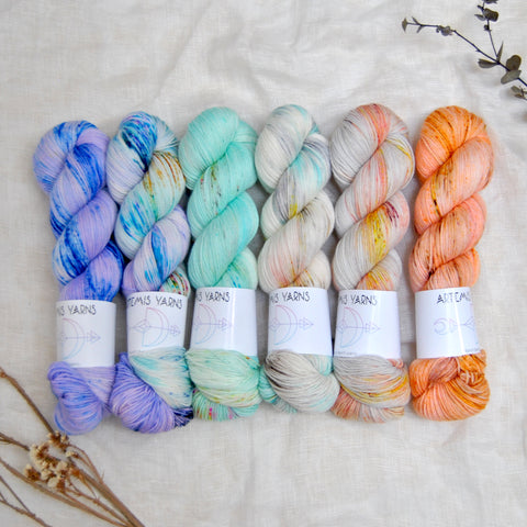 speckled fade hand dyed yarns