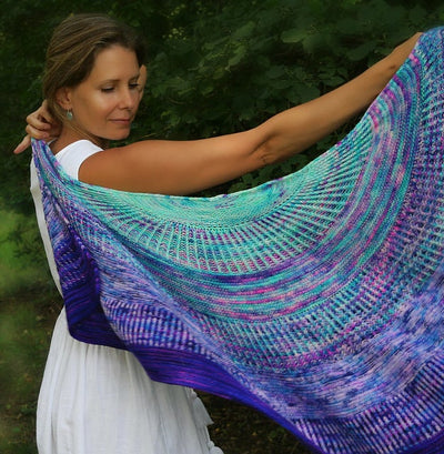 "Brioche Shell Shawl kit High Twist - Four skeins fade kit ""The Original"""