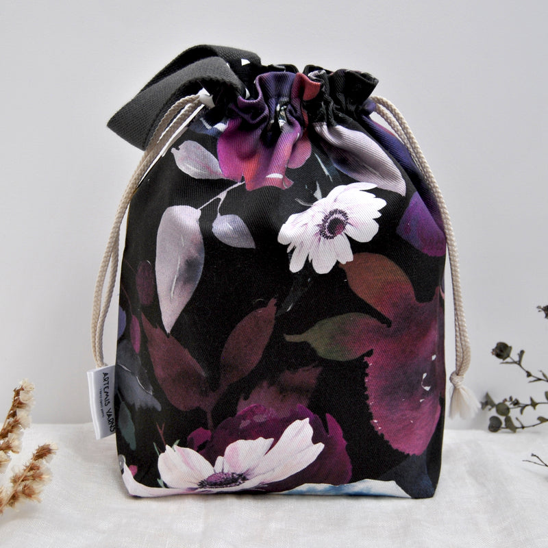 Midnight flower Shawl lover project bag - Sac à projet Midnight flower
