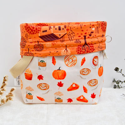 Pumpkin spice latte Shawl lover project bag - Sac à projet Pumpkin spice latte