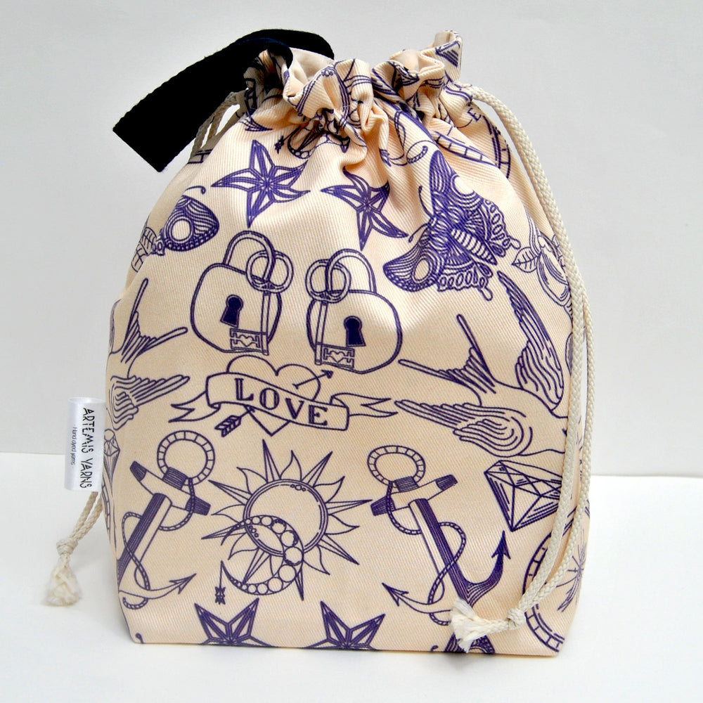 Tattoo Shawl lover project bag - Sac à projet Tattoo
