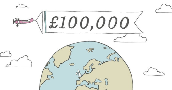 Image of the world with £100,000 written over the top