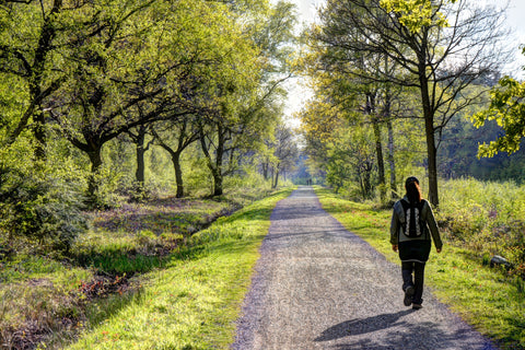 Image of a person walking along a national cyclepath