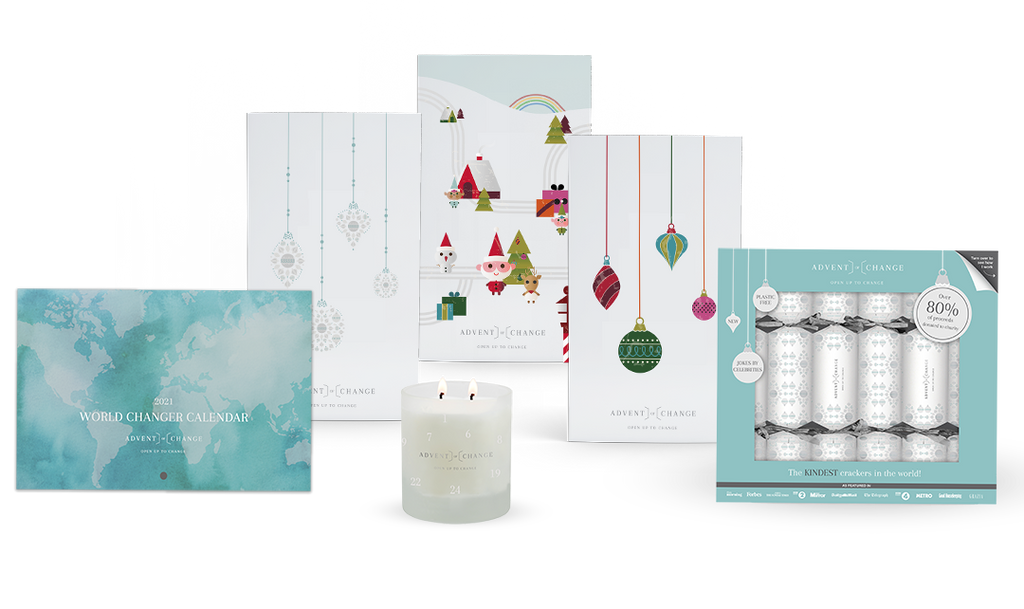 Full range of charity products Advent of change Christmas 2020