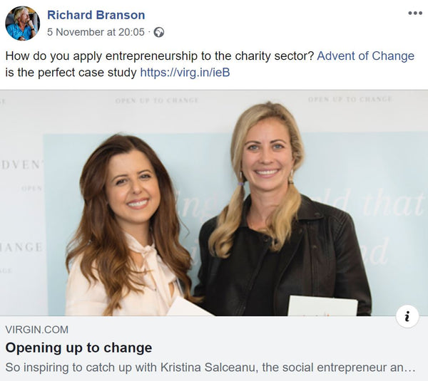 Richard Branson mention of Advent of Change