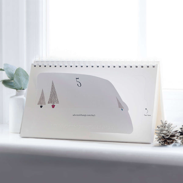An image of day five on the Advent of Change Braille calendar on a windowsill. It is an accessible version of the Advent of Change premium advent calendar.  The eco-friendly accessible version is fully recyclable and is a great way to give back at Christmas.