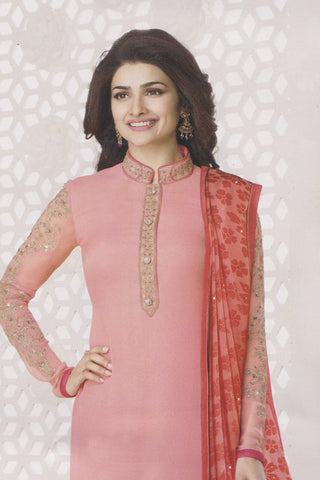 The Prachi Desai Collection:atisundar Lovely Light Pink Designer Party Wear Straight Cut Suits In Faux Georgette - 10492 - atisundar - 4 - click to zoom