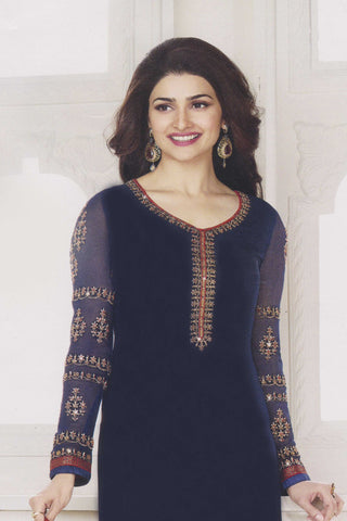 The Prachi Desai Collection:atisundar elegant Navy Blue Designer Party Wear Straight Cut Suits In Faux Georgette - 10487 - atisundar - 4