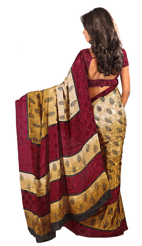 Designer Printed Saree In Crepe Jacquard:atisundar ravishing Designer Printed Saree in Crepe Jacquard in Brown  - 6319 - atisundar - 4