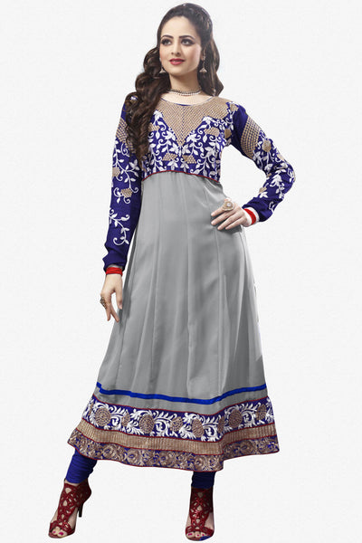 Elegant Collection For Special Occasion:atisundar admirable   in Gray And Blue - 5184 - click to zoom