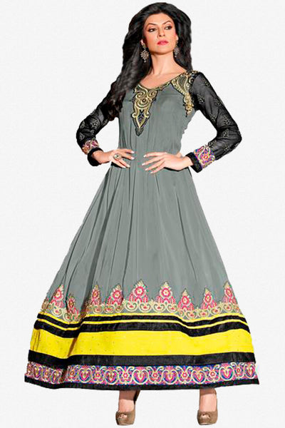 The Sushmita Sen Collection: atisundar Sonam: Elegant Designer Embroidered Semi stitched Anarkali - 4420 - click to zoom