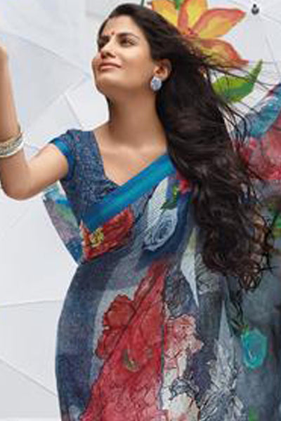 Jhoomta Sawan Designer Sarees:atisundar Jhoomta Sawan printed saree collection ravishing Designer Printed Saree in Multi Color  - 5297 - atisundar - 4 - click to zoom