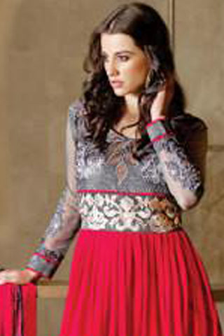 Designer Embroidered Anarkali!:atisundar charming Gray And Pink Anarkali - 8045 - atisundar - 3