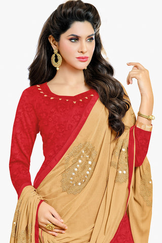 Designer Straight Cut:atisundar resplendent Cream Designer Party Wear Straight Cut in Satin Cotton - 11820 - atisundar - 2 - click to zoom