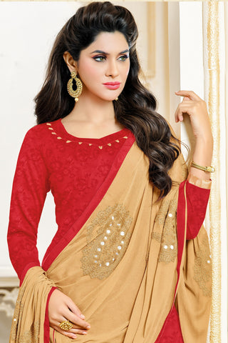 Designer Straight Cut:atisundar resplendent Cream Designer Party Wear Straight Cut in Satin Cotton - 11820 - atisundar - 4