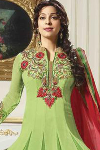Juhi Chawla Anarkalis:atisundar   pretty Bollywood Ankle Length Designer Anarkali in Green  - 4465 - atisundar - 3