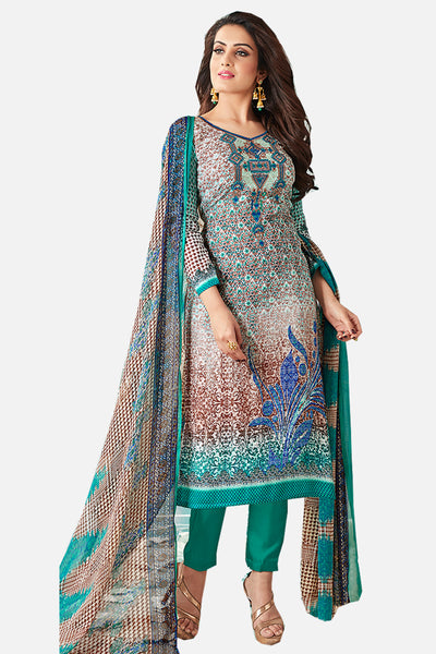 Printed Cotton Satin suit with Neck Embroidery:atisundar lovely Multi Designer Embroidered Summer Special Straight Cut Suit - 14664 - click to zoom