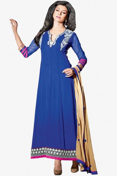 The Sushmita Sen Collection: atisundar Sia: Designer Embroidered Semi stitched Anarkali  - 4428 - click to zoom