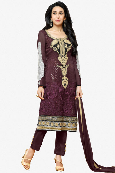 Designer Straight Cut Suits:atisundar enticing Purple Designer Embroidered Straight Cut Suits In Faux Georgette - 9427 - click to zoom