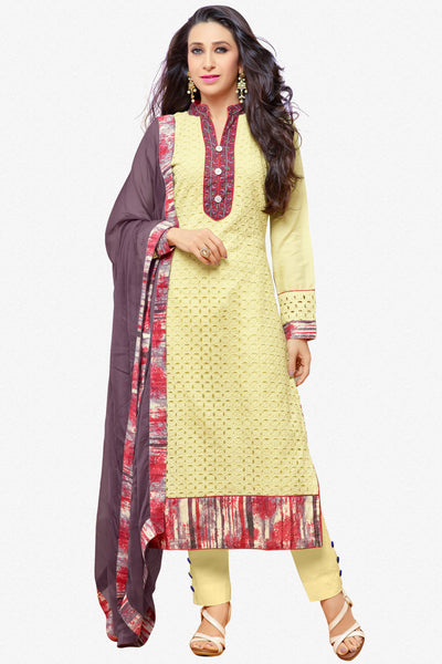 The Karishma Kapoor Collection:atisundar splendid Light Yellow Designer Straight Cut Suits With Front Schiffli Work And Printed Back Featuring Karishma Kapoor - 10405 - click to zoom