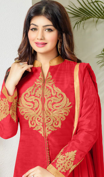 The Ayesha Takia Collection:atisundar cute Red Embroidered Designer Straight Cuts in Cambric Cotton Featuring Ayesha Takia - 10116 - atisundar - 4 - click to zoom