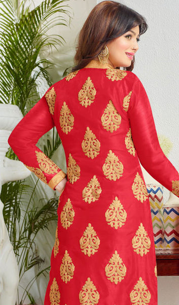 The Ayesha Takia Collection:atisundar cute Red Embroidered Designer Straight Cuts in Cambric Cotton Featuring Ayesha Takia - 10116 - click to zoom