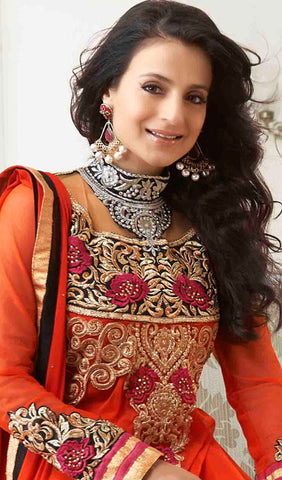 Designer Anarkali!:atisundar superb Orange Embroidered Anarkali - 8653 - atisundar - 5