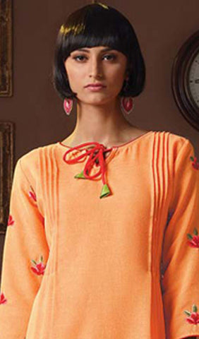 Designer Tops:atisundar Great Poly Linen Designer Tops in Orange - 9167 - atisundar - 3