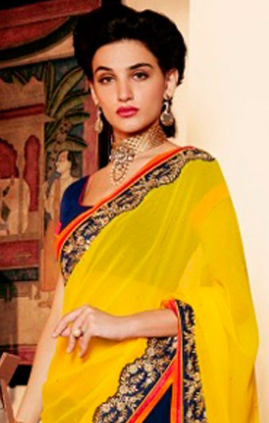 Designer Embroidered Saree:atisundar stunning Designer Embroidery Saree in Yellow  - 8594 - atisundar - 2 - click to zoom