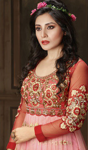 The Rimi Sen Collection:atisundar Attractive Red Designer Embroidered Anarkali - 8912 - atisundar - 4 - click to zoom