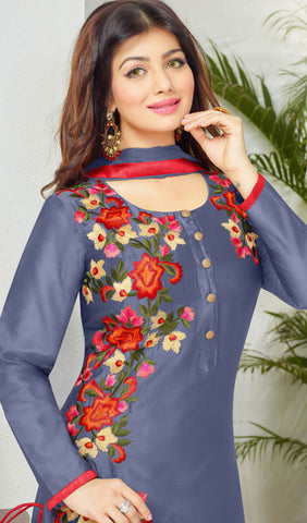 The Ayesha Takia Collection:atisundar enticing Blue Embroidered Designer Straight Cuts in Cambric Cotton Featuring Ayesha Takia - 10117 - atisundar - 4