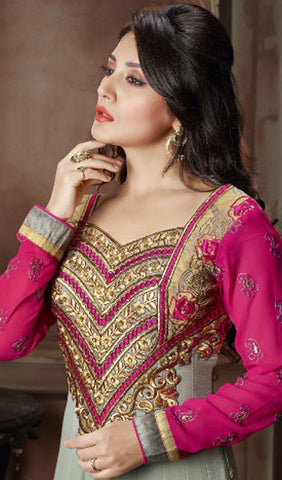 The Rimi Sen Collection:atisundar elegant Pink Designer Embroidered Anarkali - 8921 - atisundar - 2