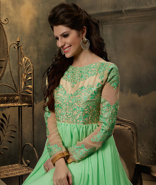 Designer Embroidered Anarkali:atisundar Lovely Light Green Embroidered Anarkali - 7795 - atisundar - 3 - click to zoom