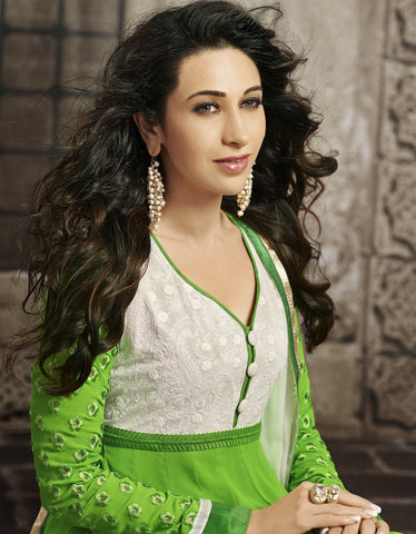 The Karishma Kapoor Collection:atisundar angelic Green Blended Semi Pure Georgette Embroidered Anarkali - 6048 - atisundar - 3