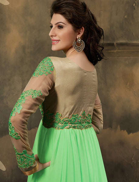 Designer Embroidered Anarkali:atisundar Lovely Light Green Embroidered Anarkali - 7795 - atisundar - 4 - click to zoom