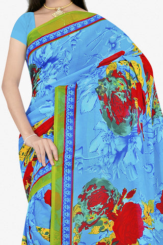 Designer Saree:atisundar Great Designer Saree in Faux Georgette in Sky Blue  - 11687 - atisundar - 2