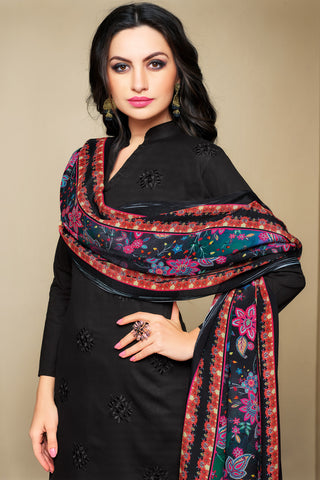 Cambric Cotton Straight Cut Top with Digital Printed Dupatta:atisundar Charismatic Black Designer Straight Cut Embroidered Suits - 15844